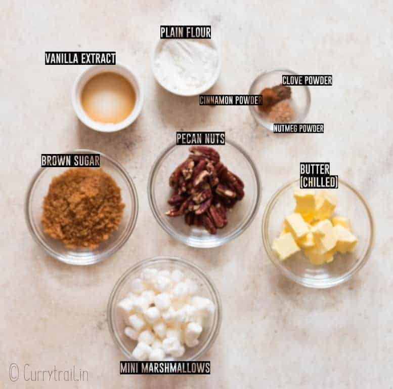 ingredients for sweet potato casserole toppings on white board