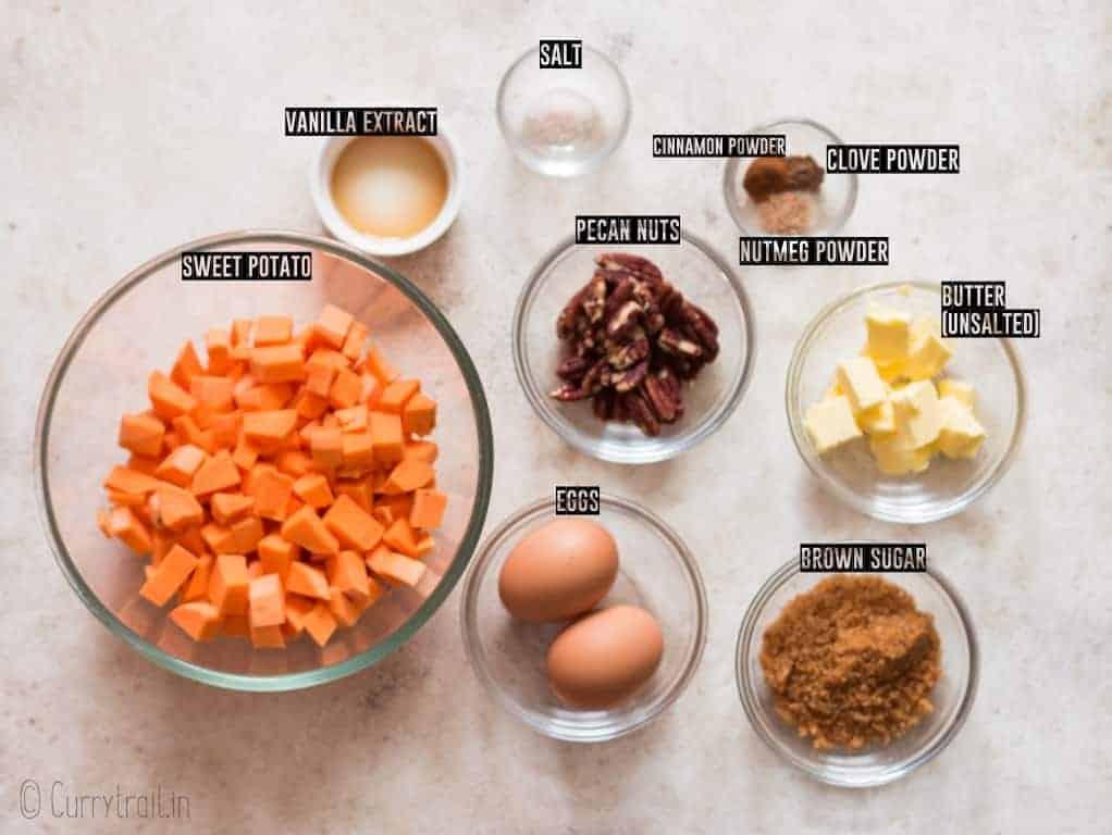 all ingredients for sweet potato casserole recipe