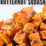 roasted butternut squash recipe in white ceramic bowl with text
