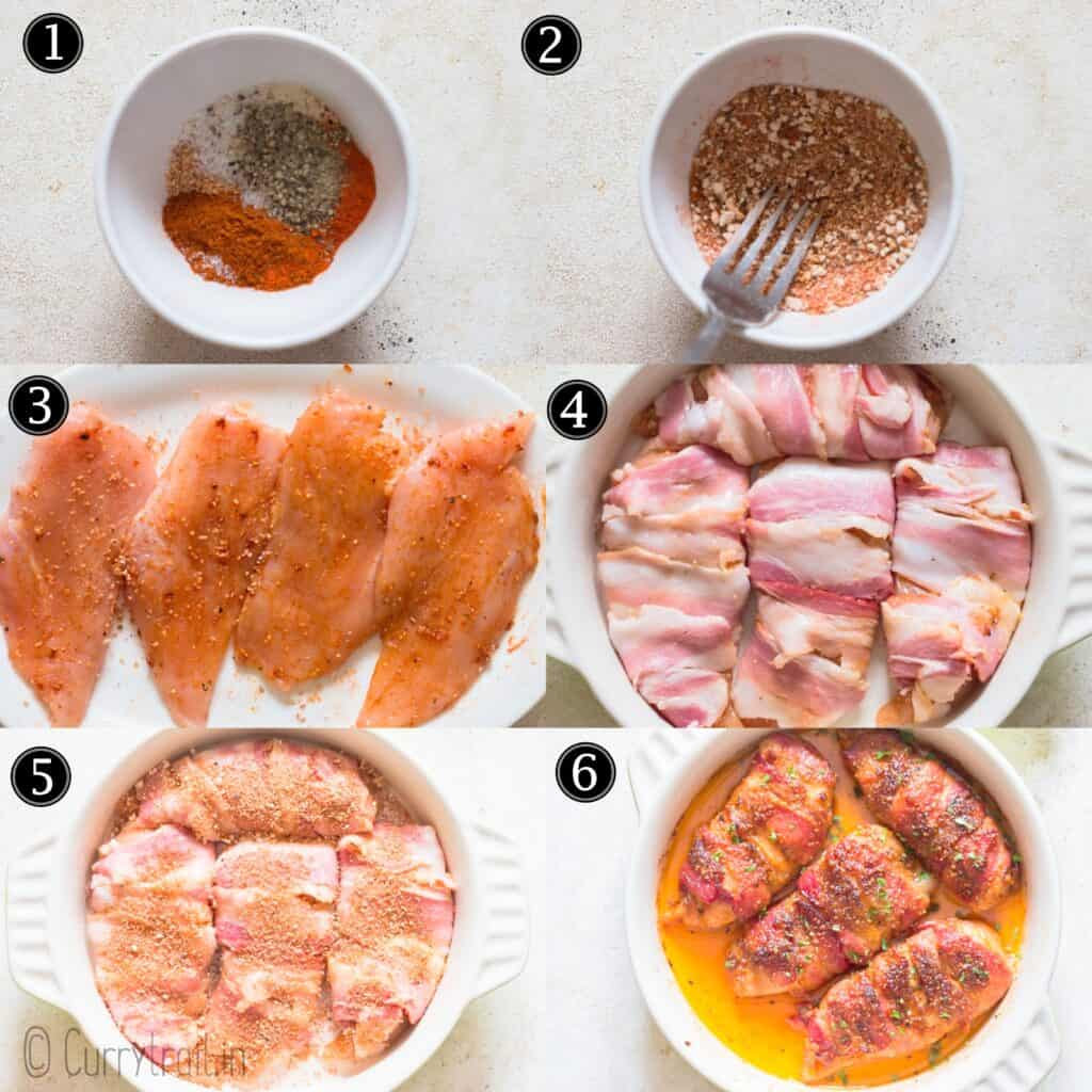 step by step picture collage for bacon wrapped chicken