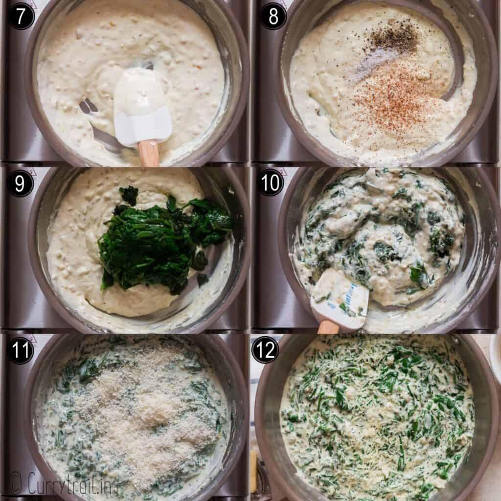 step by step picture collage of creamed spinach cooked in skillet