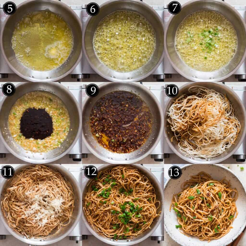 step by step picture collate for garlic noodles