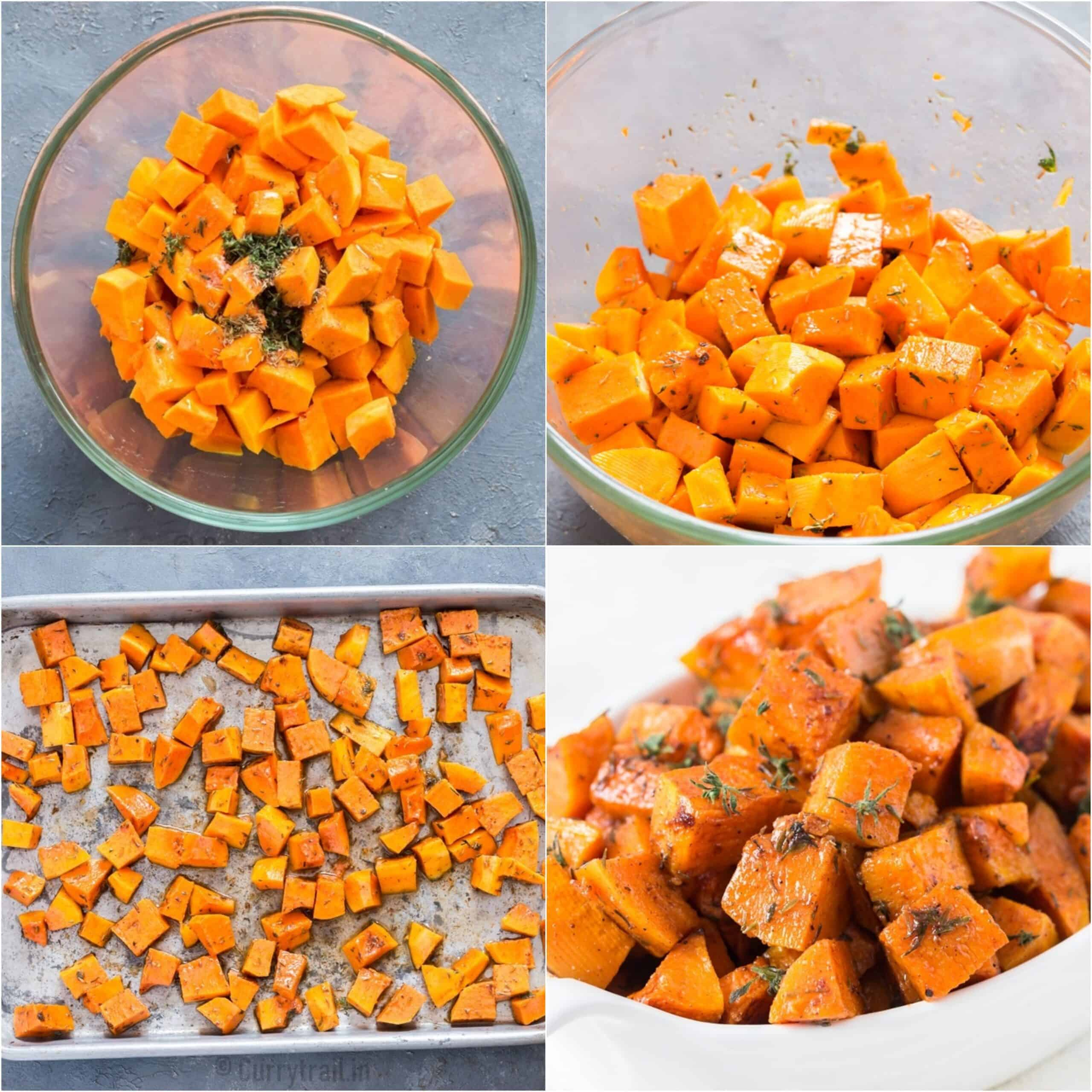 step by step picture collage for roasted butternut squash recipe