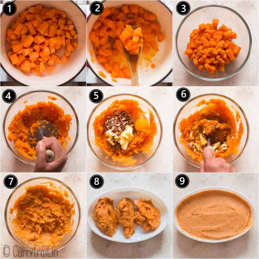 picture collage of how to make sweet potato casserole