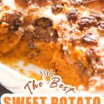 casserole with sweet potatoes and mini marshmallows with text overlay