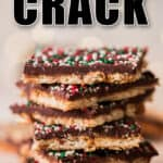 stacks of toffee crack candy with nuts and sprinkle toppings with text
