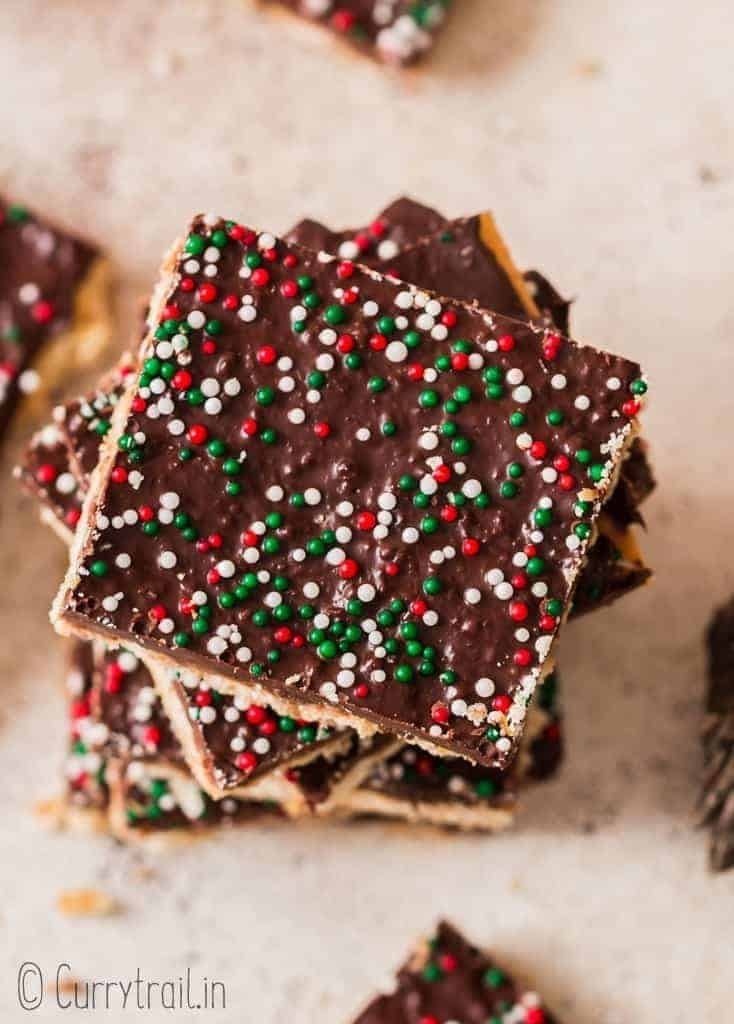 stacks of Christmas crack on board