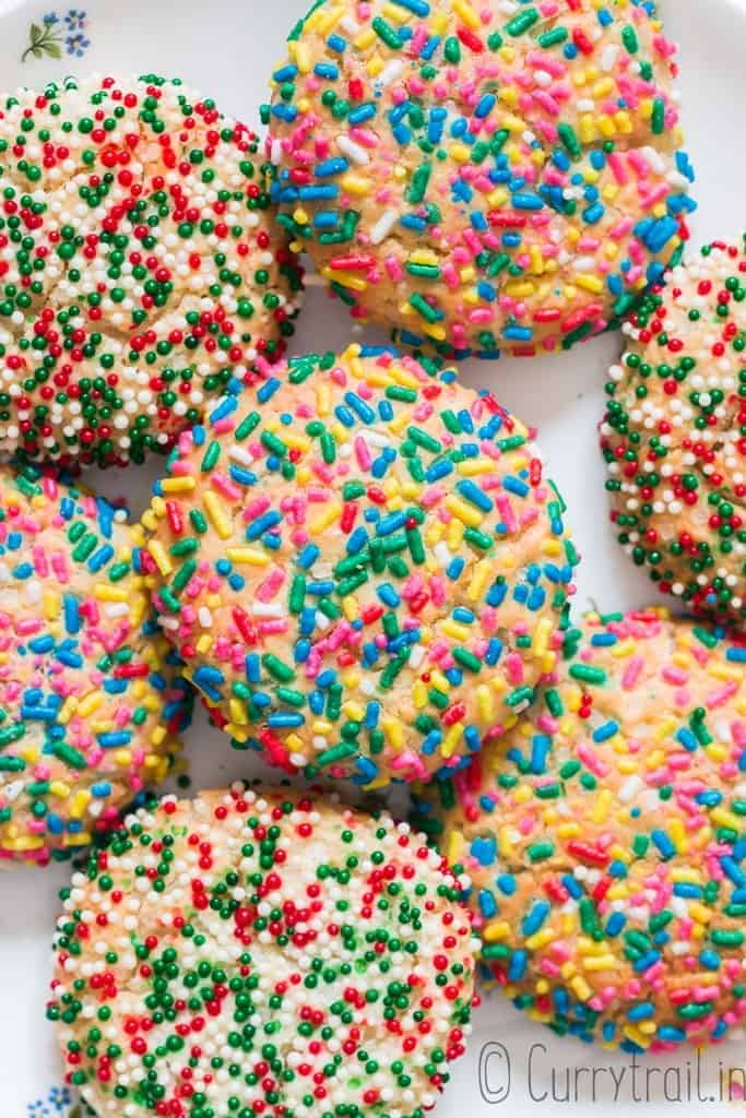 soft and chewy sprinkle sugar cookies on a plate