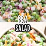 pea salad in salad bowl with text