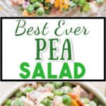 making pea salad recipe with onion, bacon and cheese in salad bowl with text
