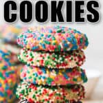 sprinkle sugar cookies stacked one top of other with text