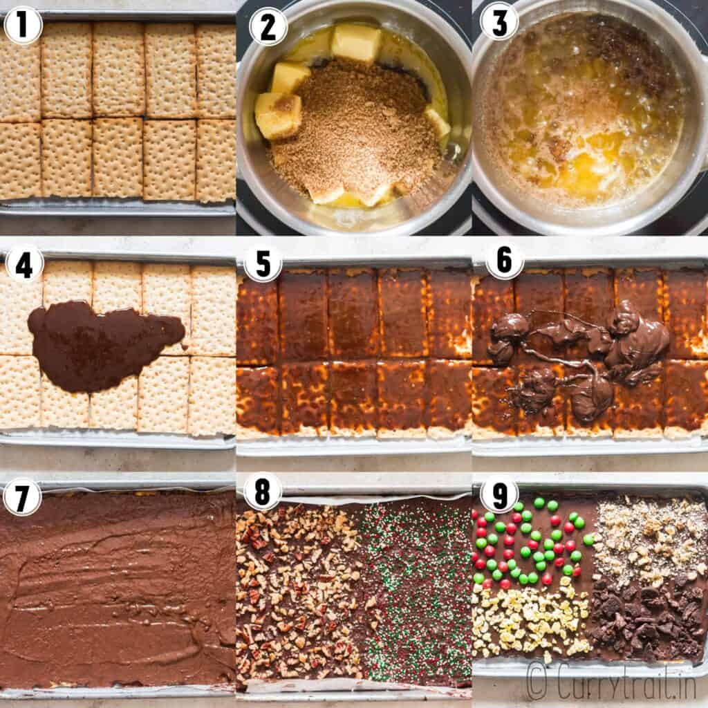 how to make Christmas crack in baking pan with step by step picture collage
