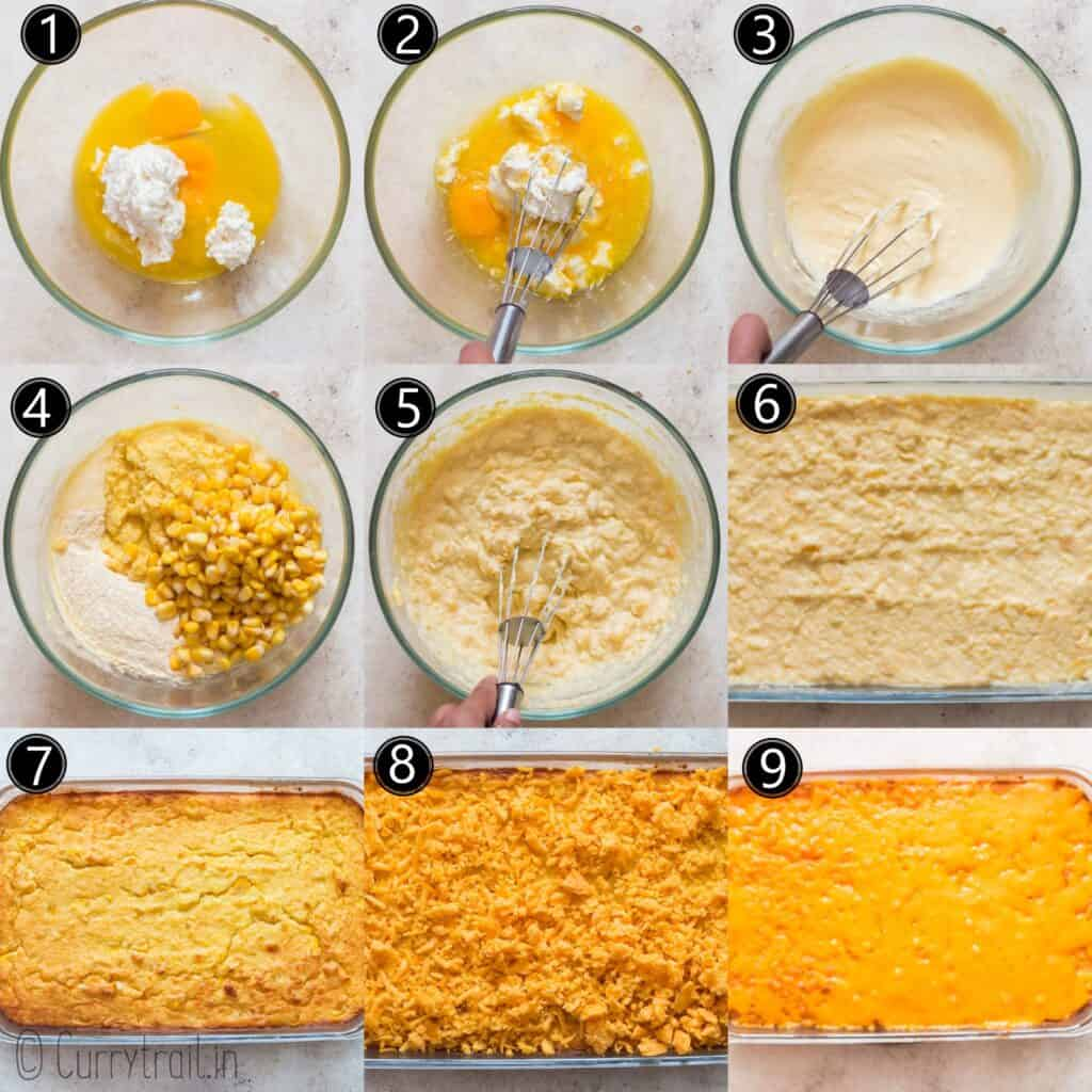 step by step instructions for corn casserole recipe