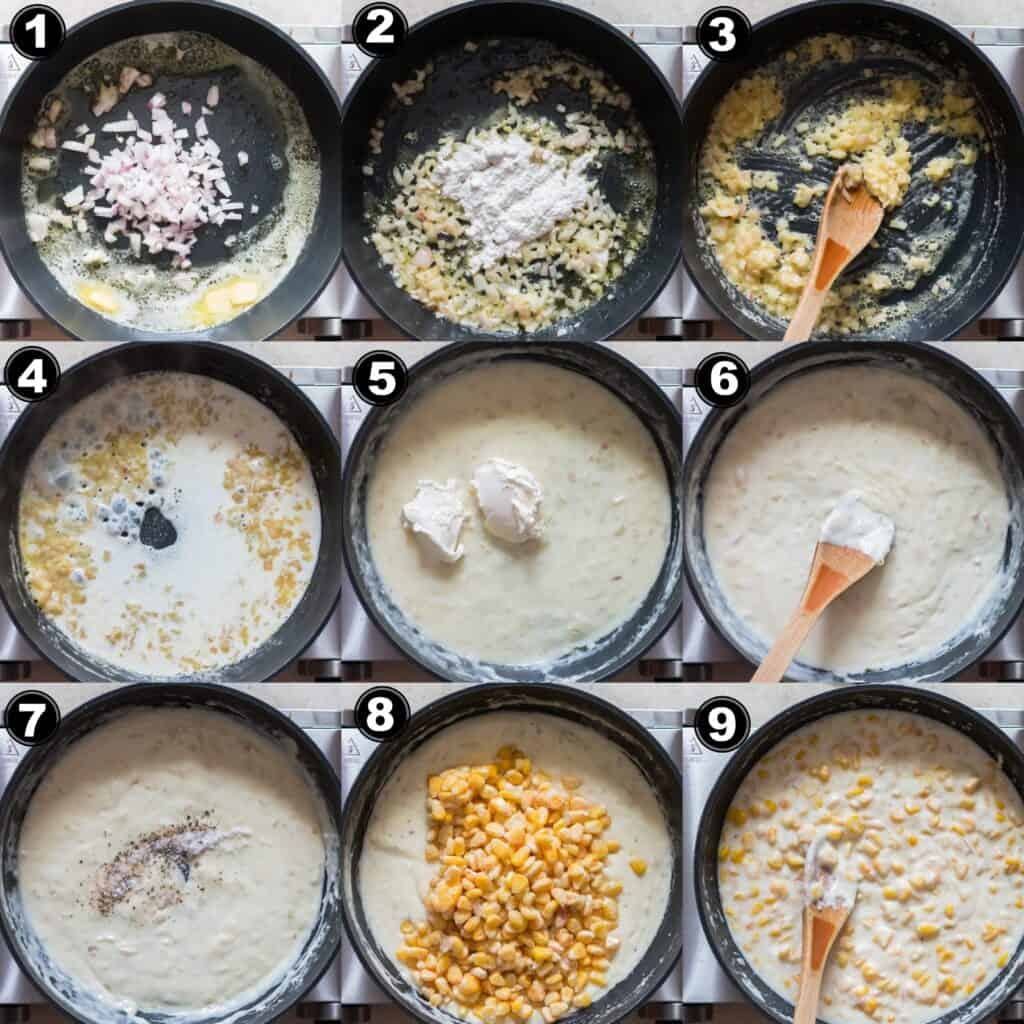 step by step picture collage of how to make creamed corn