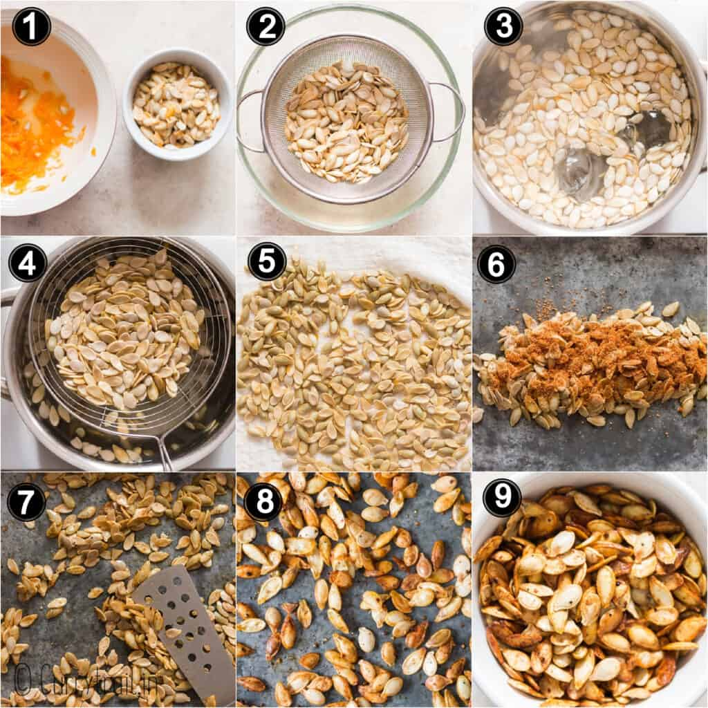 step by step picture collage of how to roast pumpkin seeds in oven