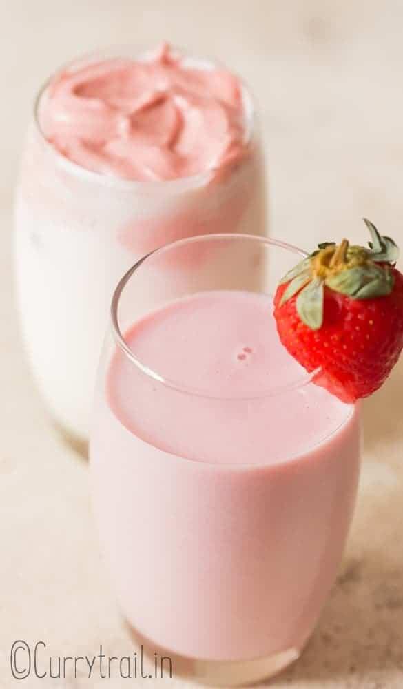 strawberry milk recipe made 2 ways served in glass