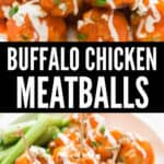 plate filled with chicken meatballs with buffalo sauce and blue cheese dressing