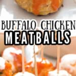 chicken meatballs with buffalo sauce and blue cheese dressing drizzled on top with text