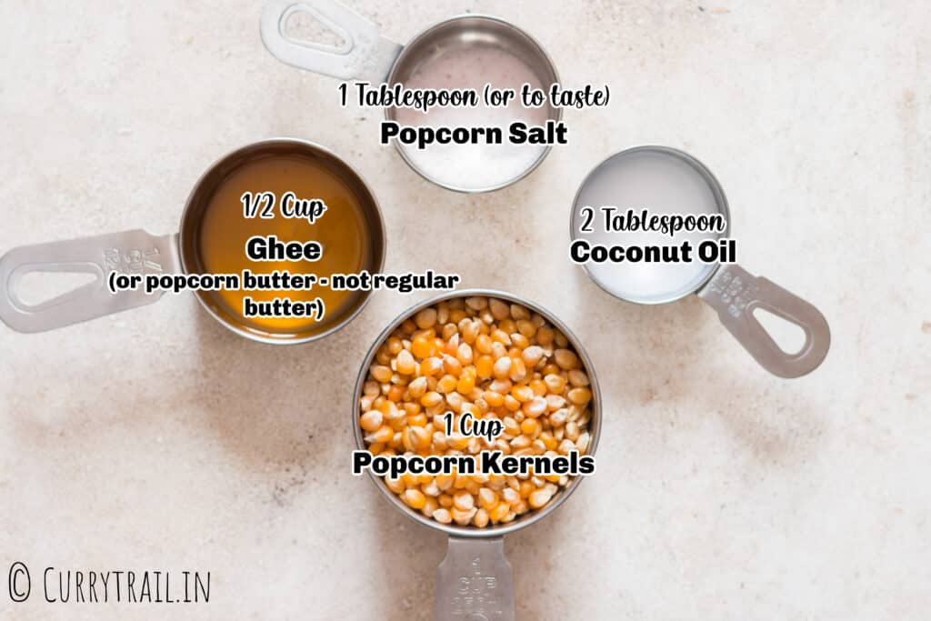 all ingredients for movie style theater popcorn in measuring cups