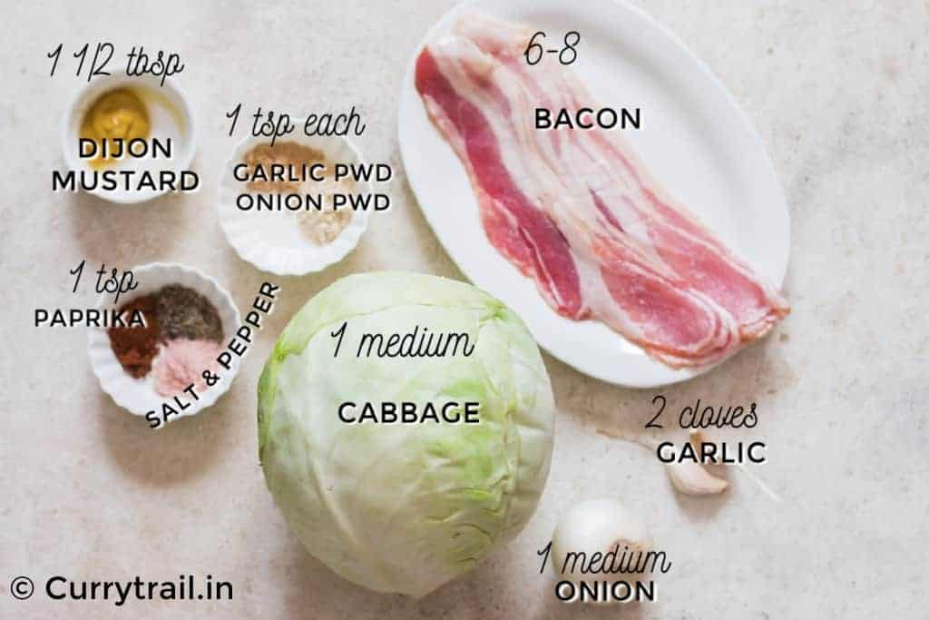all ingredients for southern fried cabbage with bacon recipe