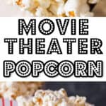 homemade movie style popcorn made on stove top in popcorn tubs with text