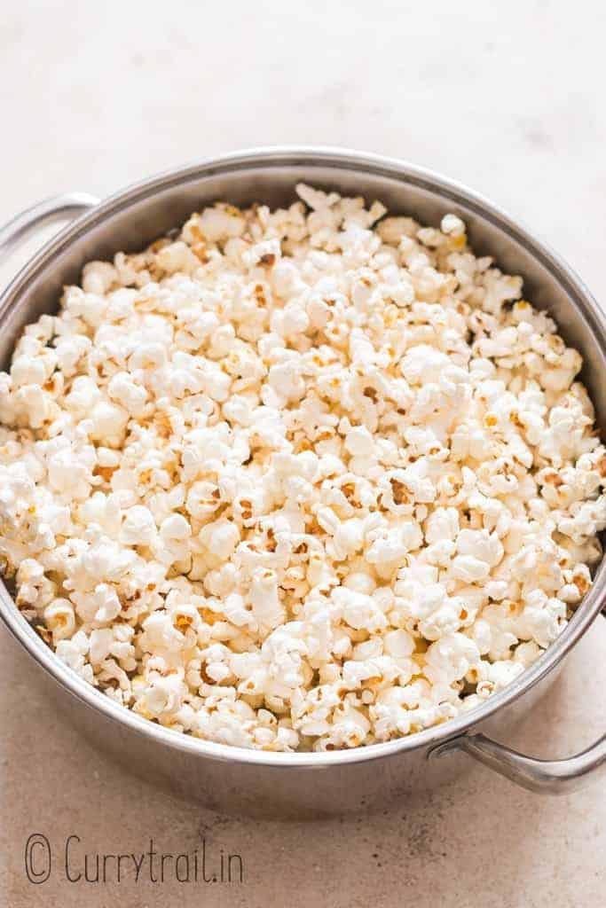 close up of movie style theater popcorn made on stove top
