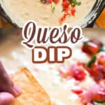 white queso dup in small ceramic bowl with nachos on side with text overlay
