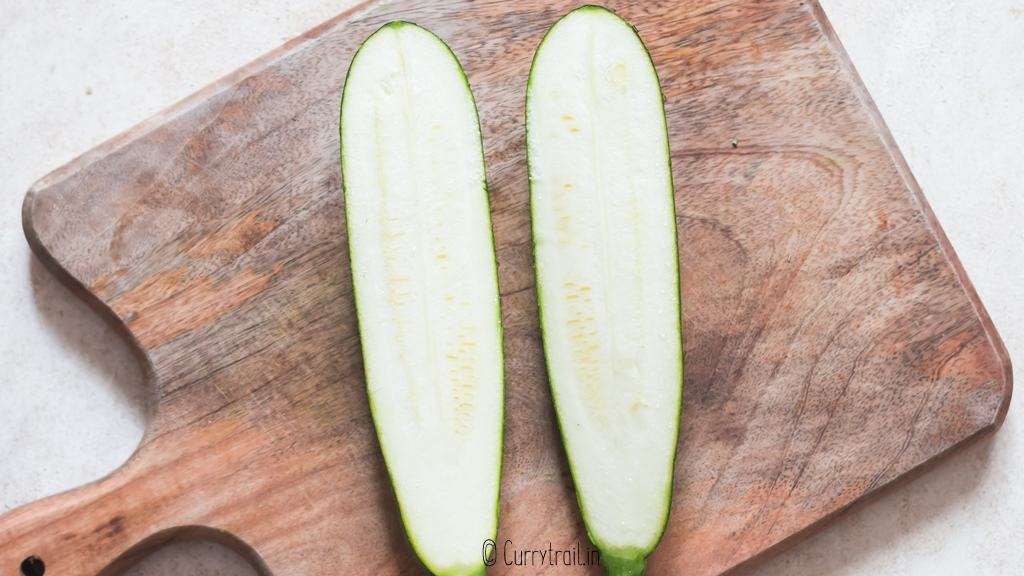 slice zucchini into half lengthwise