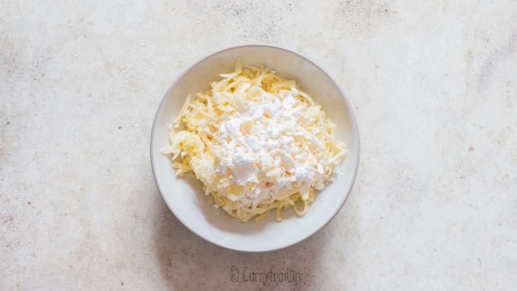 fresh grated cheese coated in cornflour