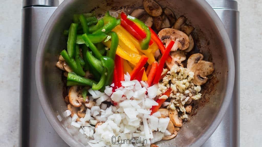cooking veggies in skillet