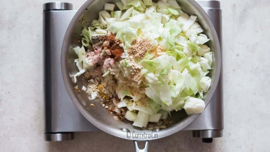 all seasoning added to pan to make fried cabbage recipe
