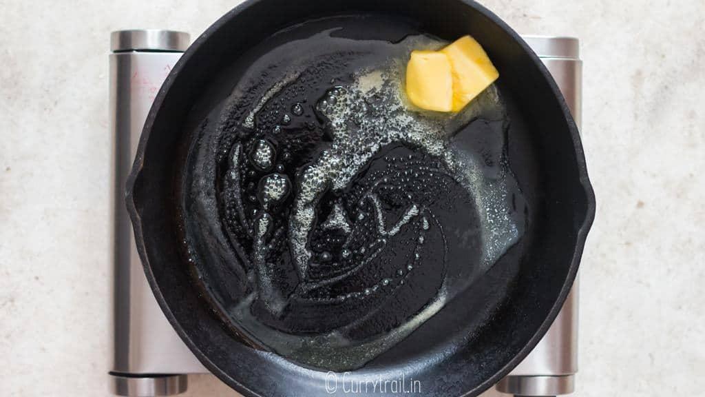 melt butter in cast iron skillet