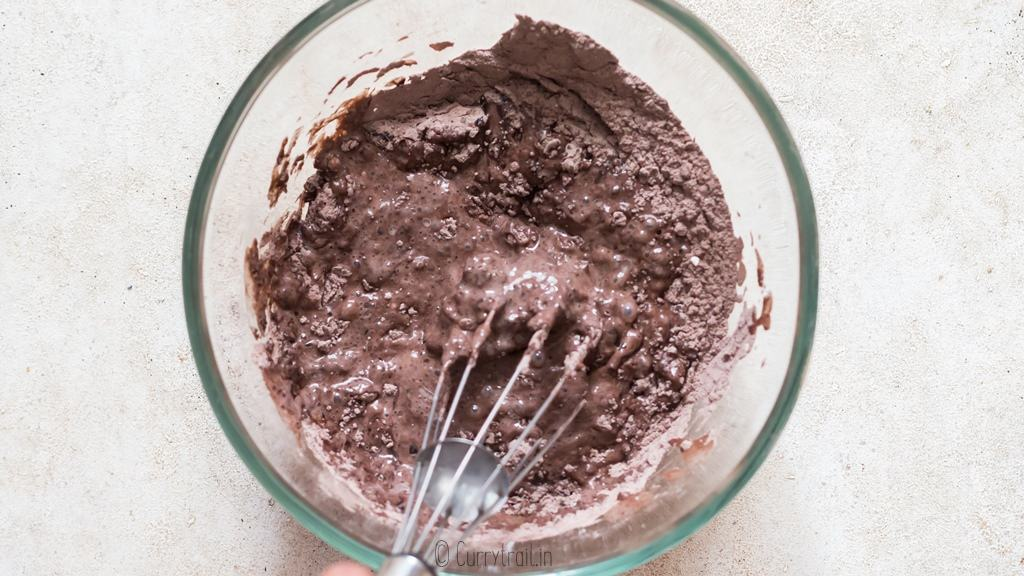 step by step pictorial instructions for making chocolate pudding cake