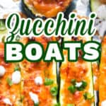 stuffed zucchini boats with buffalo chicken on sheet pan with text overlay