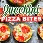 zucchini pizza bites on baking tray