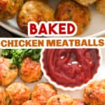 chicken meatballs baked and served with ketchup with text