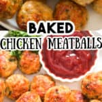 healthy baked chicken meatballs served with ketchup with tex