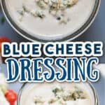 blue cheese dressing served with salad on side with text overlay