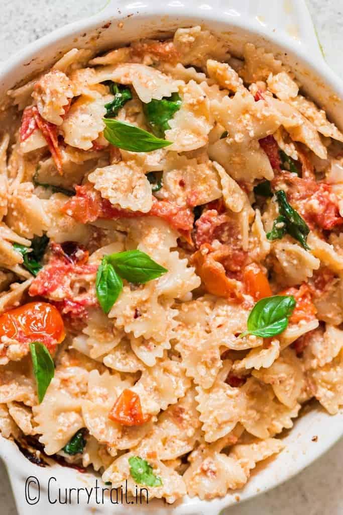 baked feta pasta in baking dish