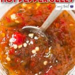 jalapeno hot pepper jelly in glass jar with text
