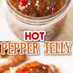 jar with jalapeno pepper jelly spread on cracker with cream cheese with text