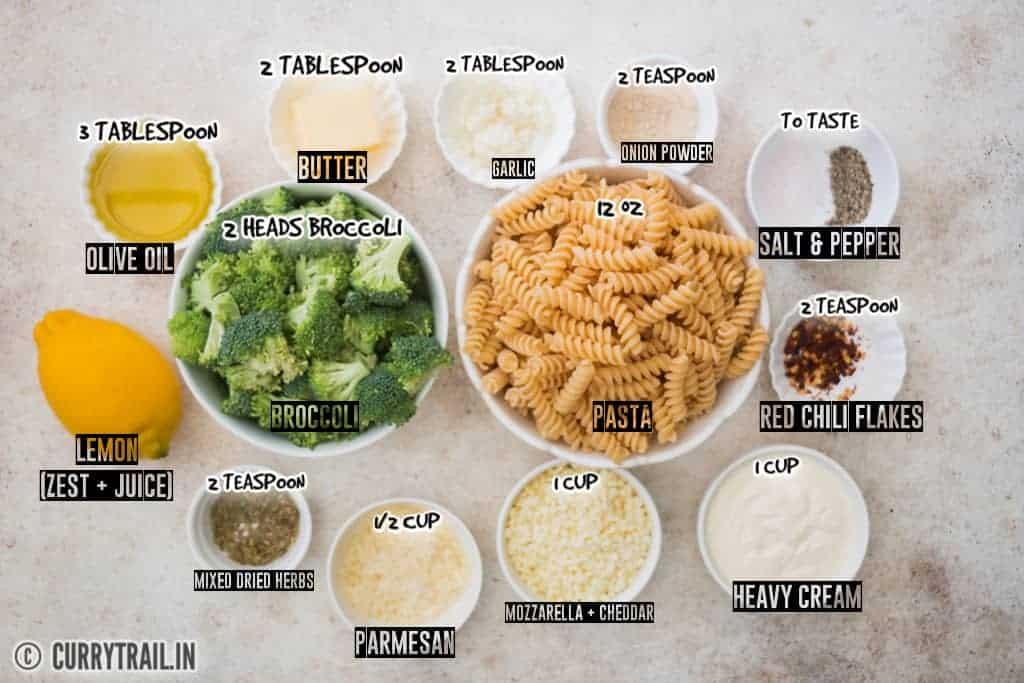 all ingredients to make broccoli pasta recipe