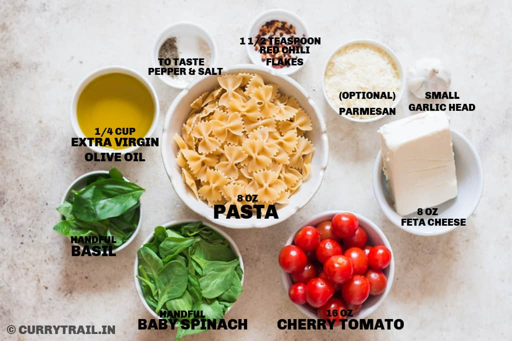 all ingredients for baked feta pasta