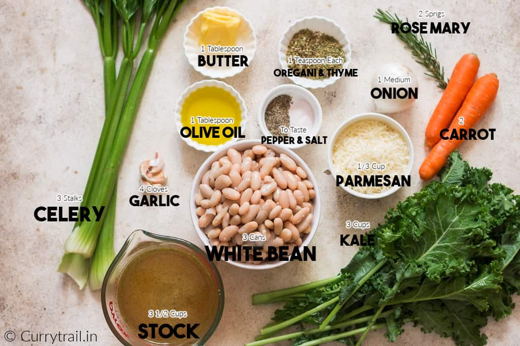 all ingredients for white bean soup on white board