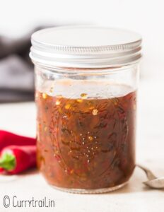 jar filled with jalapeno jelly aka hot pepper jelly