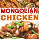 Mongolian chicken cooked in skillet served with rice with text
