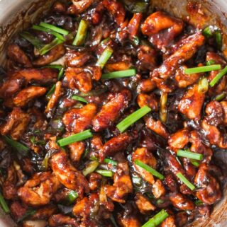 Mongolian chicken recipe cooked in skillet