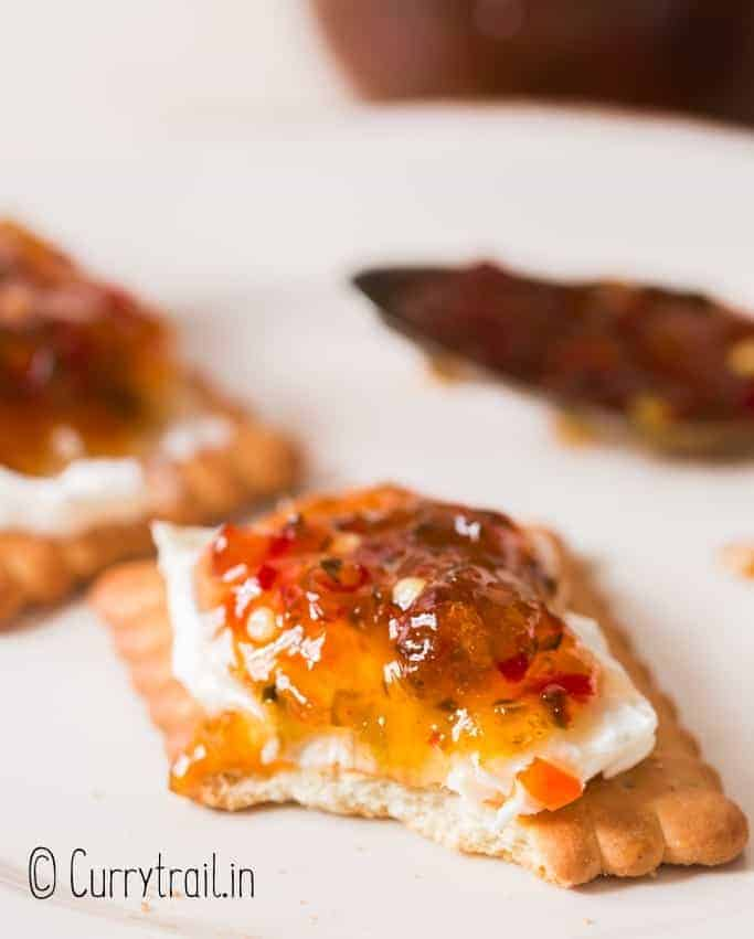 cracker spread with cream cheese and hot pepper jelly