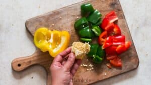dicing bell peppers to make hot pepper jelly