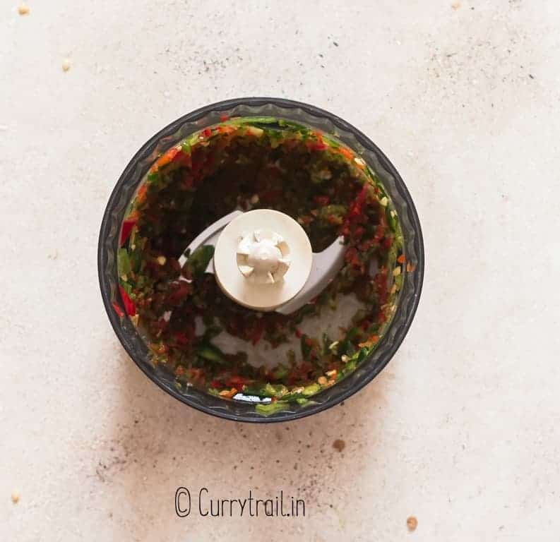 dicing jalapeno peppers in food processor to make jalapeno jelly
